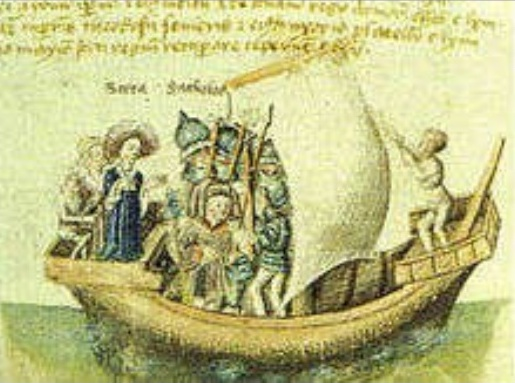 The founders of Scotland of late medieval legend, Scota with Goídel Glas, voyaging from Egypt with the Stone of Destiny.