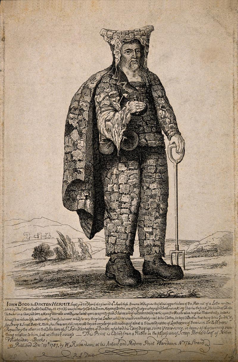 John Bigg, the Dinton Hermit. Not a garden hermit, but of same era (via Wellcome Library)