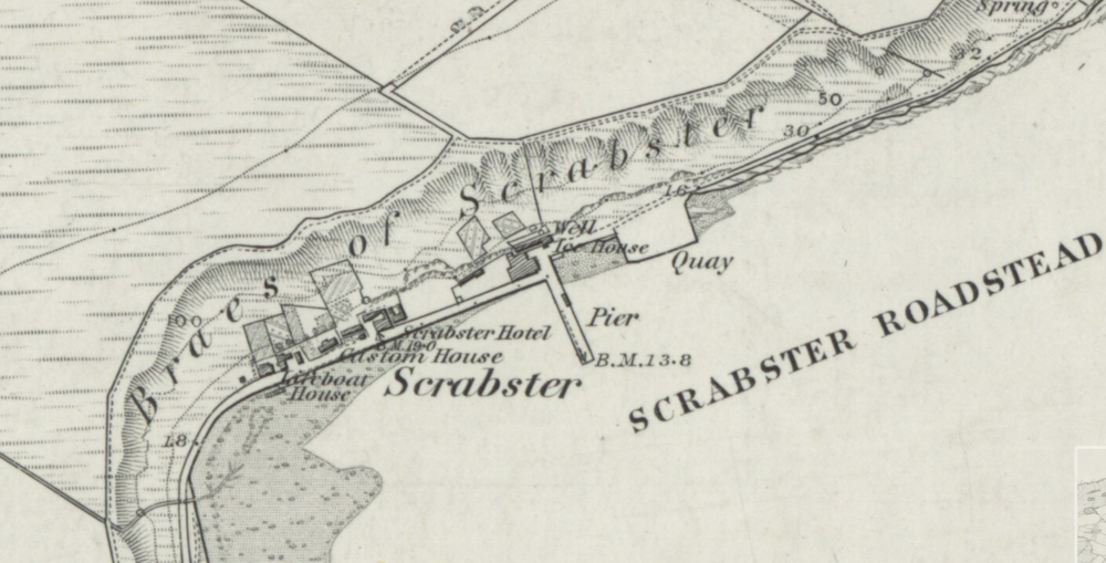 19th century Ordnance Survey Map showing a chute stemming from the rear cable end of the Scrabster ice house