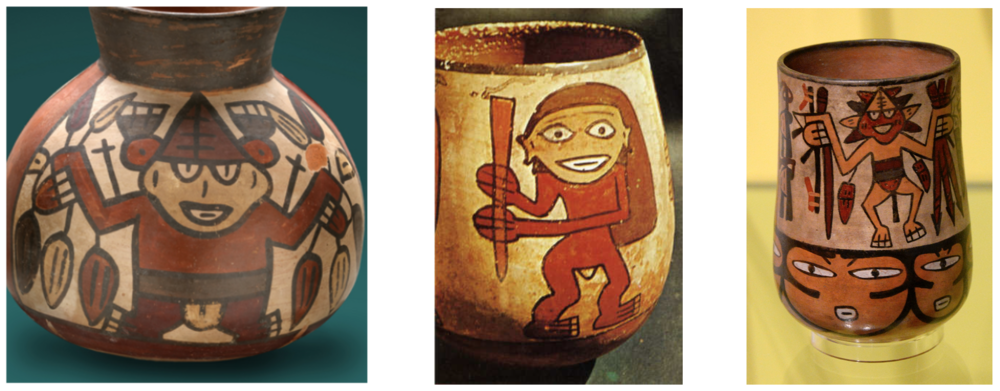Fig 9: Might the three-fingered Peruvian mummy correspond with these figures featured in Nazca ceramics.