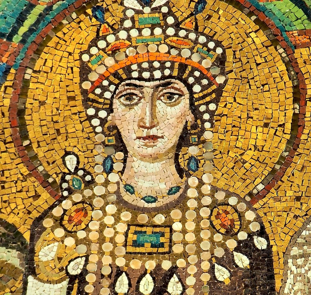 Theodora, detail of a Byzantine mosaic in th e  Basilica of San Vitale ,  Ravenna