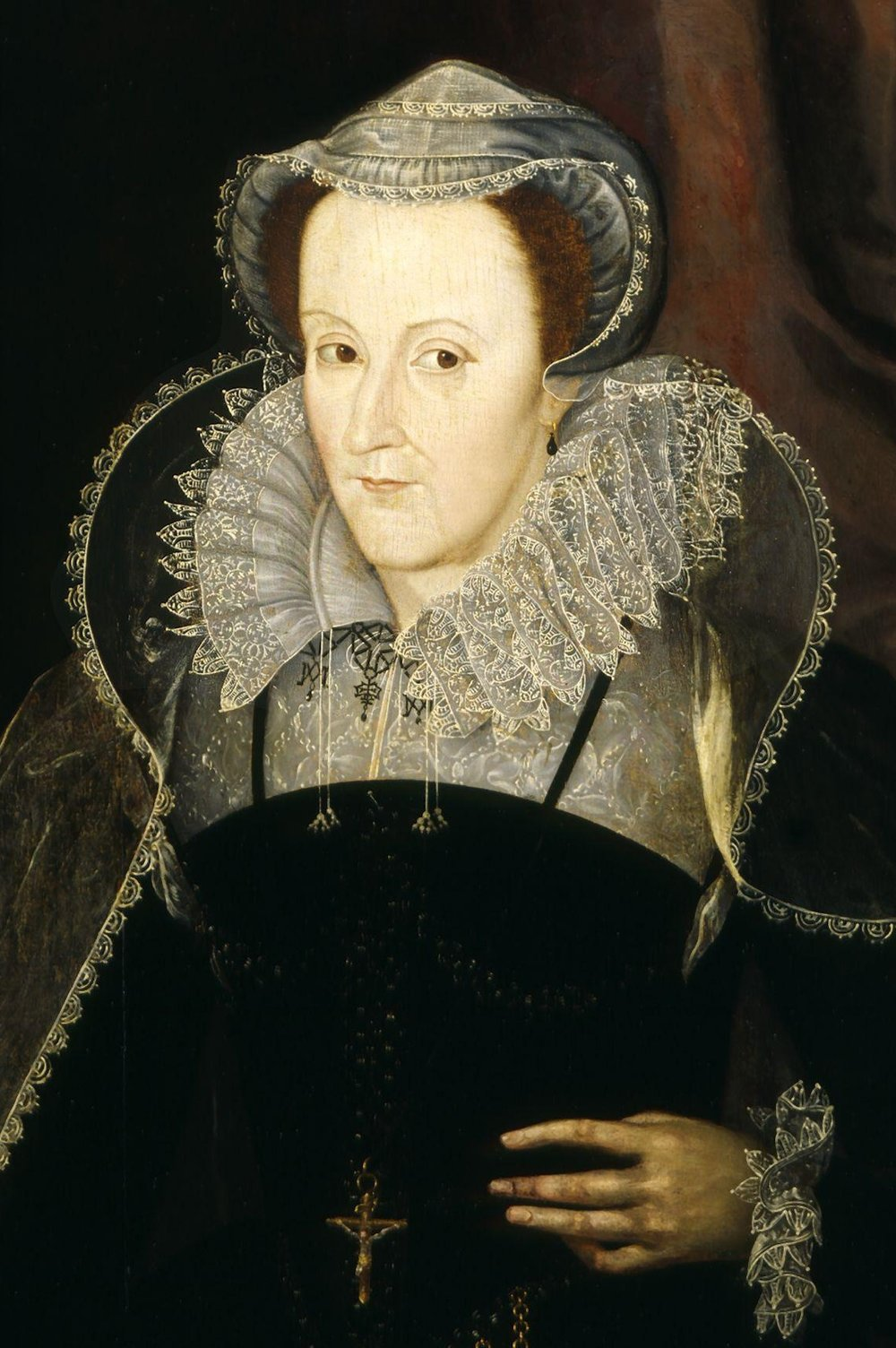 """Mary, Queen of Scots in captivity,"" dated 1578. By Nicholas Hilliard (died 1619)."