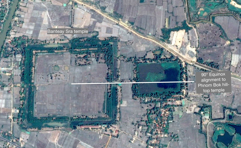 Figure 18: The alignment form Phnom Bok hill is accurate to less than a meter of accuracy over over 31 kilometers.