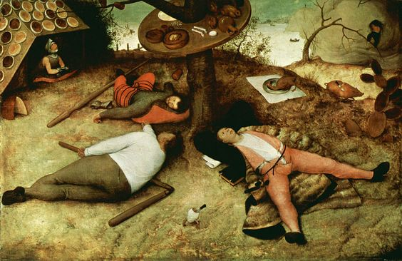 "Pieter Bruegel the Elder's ""Luilekkerland"" (The Land of Cockaigne), 1567. Oil on panel."