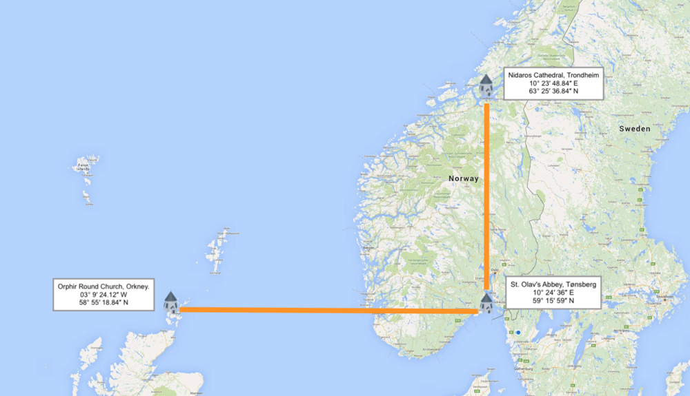 Figure #09: Tonsberg Round Church in Norway and Orphir Round Church in Orkney share the same line of latitude, and Tonsberg Round Church shares the same longitude as Nidaros in Trondheim.