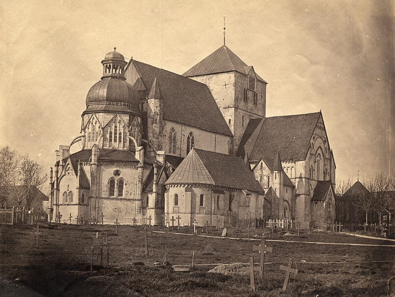 FIG#06:    Nidaros Cathedral    in Trondheim, Norway from northeast. Photography from 1857.