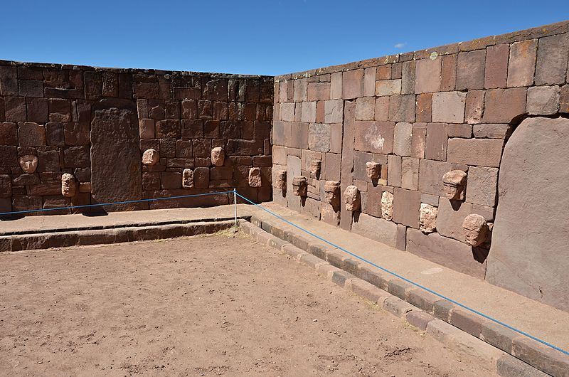 Figure 4. The Semi-Subterranean Temple is the oldest ritual space at Tiwanaku built around 200 BCE.  Public License .