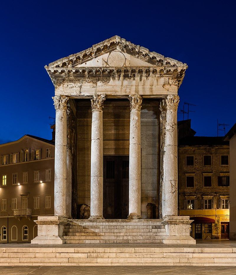 #03. Temple of Augustus, Pula, Croatia. The Roman temple is dedicated to the first Roman emperor, Augustus.    CC by-SA 3.0