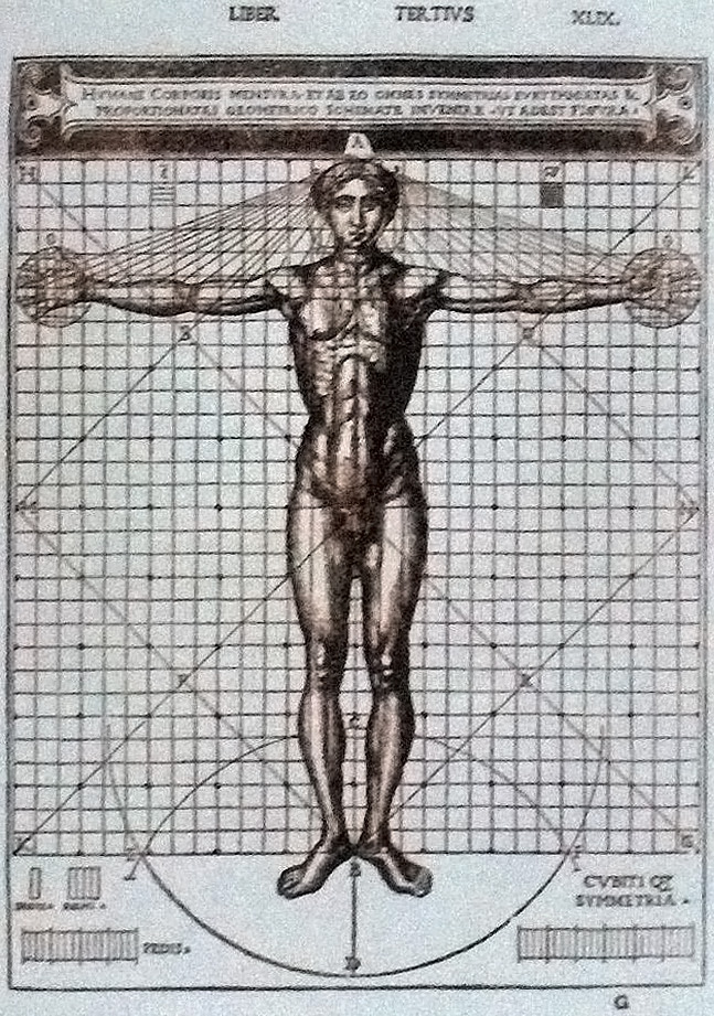 #04.  Vitruvian Man , illustration in the edition of  De architectura  by Vitruvius; illustrated edition by Cesare Cesariano (1521).    CA by SA 3.0