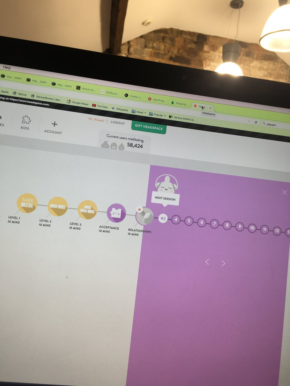 My Headspace App on my desktop at my desk