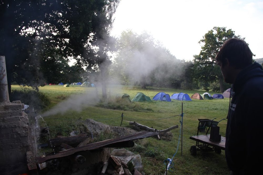 Steam escaping from a hot water pressure tank one morning at camp
