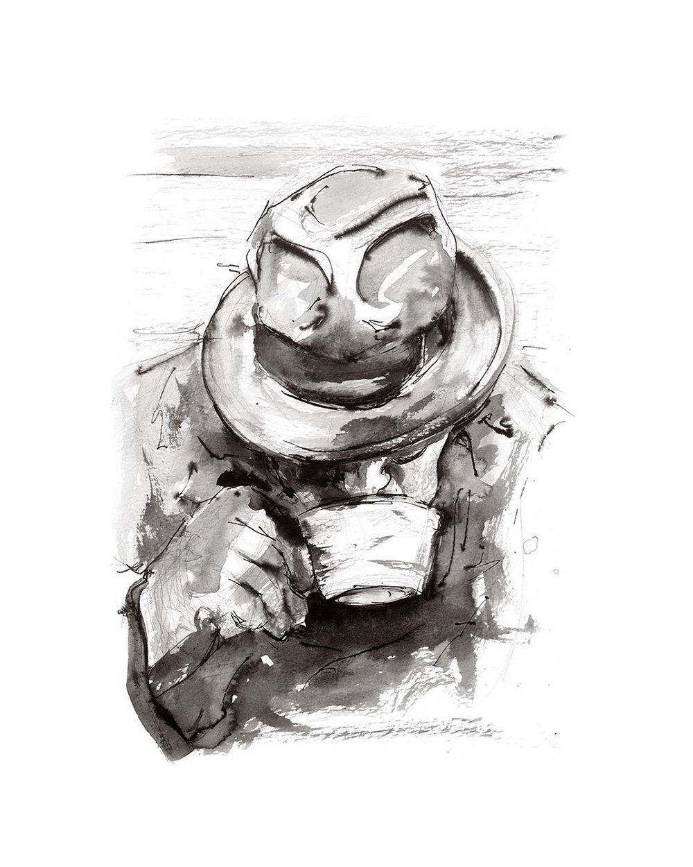 'Man with Tea'.  Fine Art Print by Artist, Dana Trijbetz.  Original Ink Painting made as a Giclée Print on 100% Cotton Paper.  Image 2 of 4.jpg