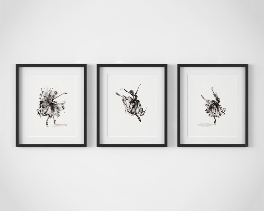 Set of 3 Ballet Dancer Fine Art Prints by Artist, Dana Trijbetz.  Original Ink Paintings made as Giclée Prints on 100% Cotton Paper.  Set Includes 'Release', 'In Flight' and 'Symphony'.jpg