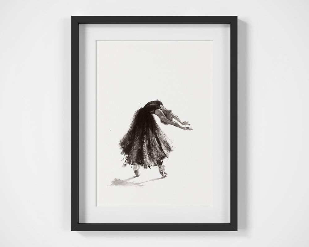 'Catharsis'.  Fine Art Print by Artist, Dana Trijbetz.  Ballet Dancers Collection.  Original Ink Painting made as a Giclée Print on 100% Cotton Paper.  Image 1 of 3.jpg