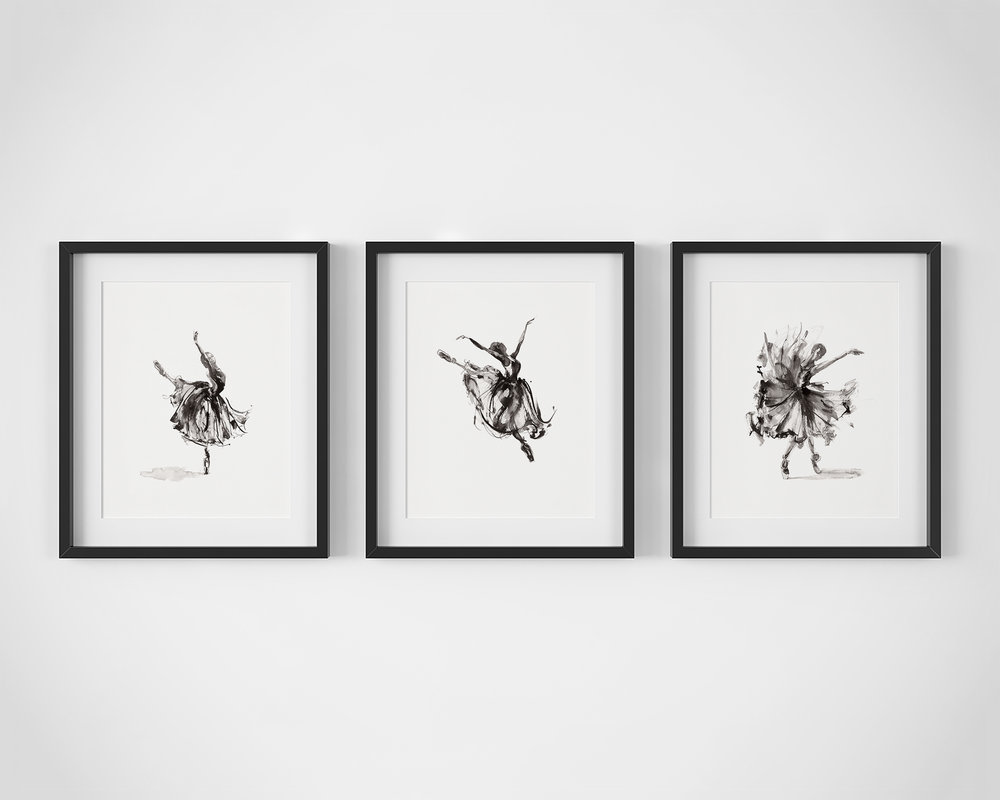 5.  Set of 3 Ballet Dancer Fine Art Prints by Artist, Dana Trijbetz.  Original Ink Paintings made as Giclée Prints on 100% Cotton Paper.  Set Includes 'Symphony', 'In Flight' and 'Release'.jpg