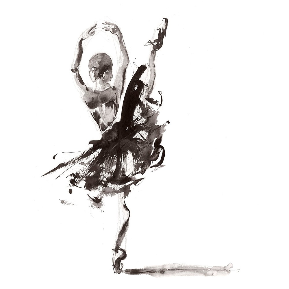 'For the Heart'.  Fine Art Print by Artist, Dana Trijbetz.  Ballet Dancers Collection.  Original Ink Painting made as a Giclée Print on 100% Cotton Paper.  Image 2 of 3.jpg