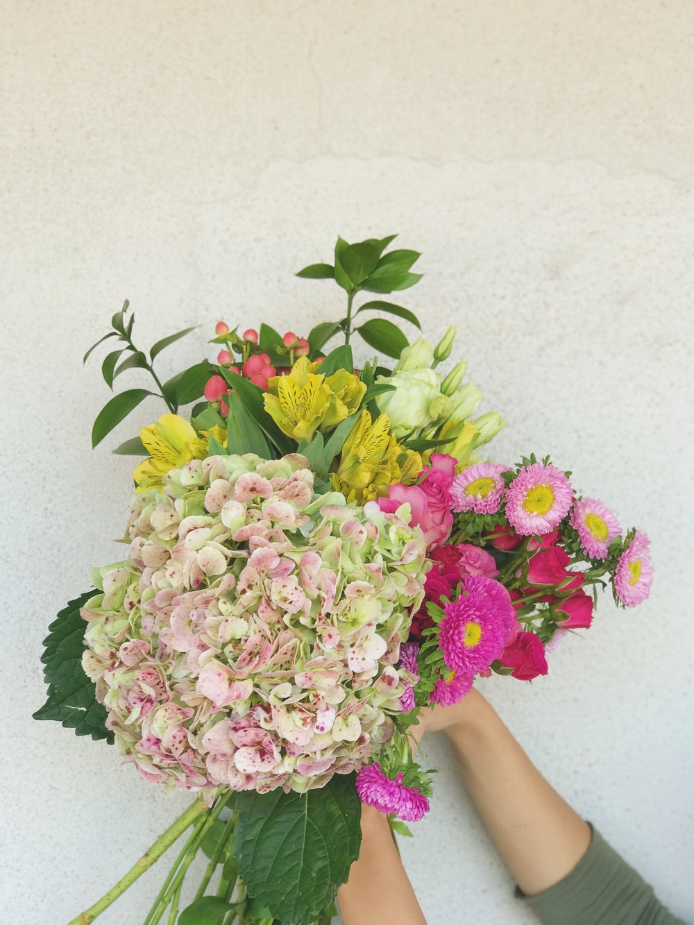 Flowers pictured: Antique hydrangeas, Japanese Aster, Spray Roses, Hypericum Berries, Alstroemeria, Lisianthus, Israeli Ruscus