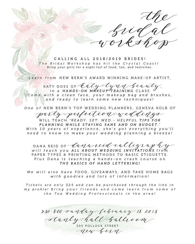 Coastal Carolina Brides! If you're anything like I was when planning my wedding, you're overwhelmed and a bit unsure what the heck you're doing. But that's not at all what I want for you in this beautiful, exciting season! So I'd love for you to join me on Feb. 18 to learn how to combat that doubt and overwhelm! . @partyperfectionweddings, New Bern's top wedding planner will walk you through everything you need to know about planning (and staying on budget!), @katylynnbeauty, voted best make up artist in the south, will teach a makeup masterclass, and I'll be answering all your questions about wedding invitations PLUS teaching the basics of hand lettering! . Head to the link in my bio to snag your seat for The Bridal Workshop. I seriously can't wait to hug you!