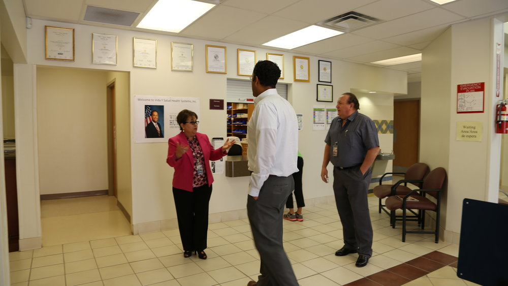 Vida Y Salud CEO Nora Tellez leads Rep. Hurd in a tour of the clinic's many life-saving departments and services.