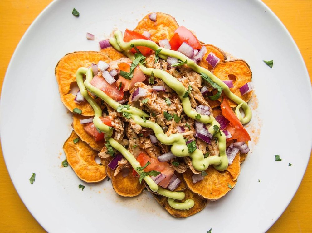 Loaded Sweet Potato Nachos with Slow-Cooked Pulled Chicken and Avocado Lime Drizzle