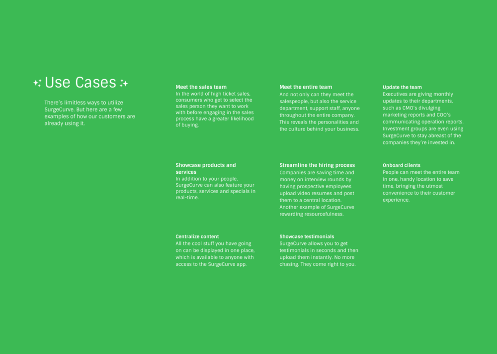SurgeCurve use cases. Meet the team page. Company wide updates. customer testimonials. product/service showcase. client on boarding. Hiring. Aggregated content.