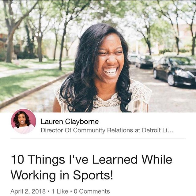 Shoutout to our SIS @laurenclayborne for this great article on LinkedIn! 🚨 Spoiler Alert! 🚨 You will see her next week as our #WCW April Spotlight! Coming soon! #SistasinSports  #Repost @laurenclayborne with @get_repost ・・・ People ask me to share my advice about working in the sports industry all the time. I finally put some of my thoughts on paper! I hope you enjoy it! The link is in my bio.