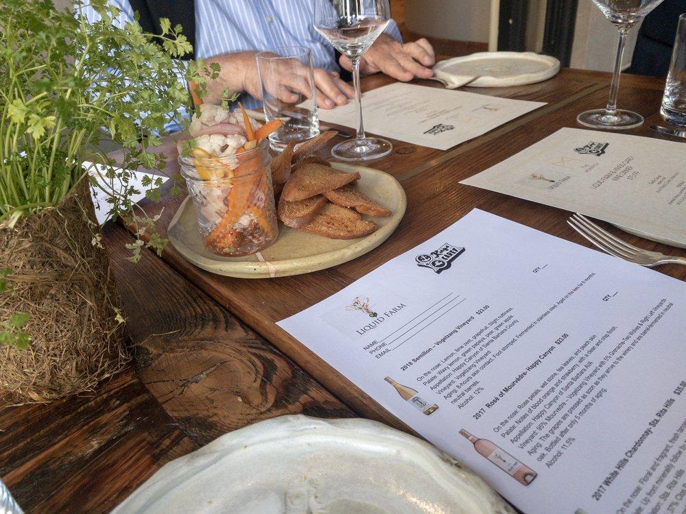 Liquid Farm & Kings Carey Winemaker Dinner - Image: @GingeEats_SB