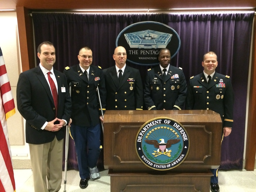 from left to right, Louis Carter, CEO Best Practice Institute, Inc., COL Gary Kayser, Capt. Dave Opatz, Captain COL Ron Lundy,  COL John Hickey of the Pentagon/Office of Secretary of Defense.
