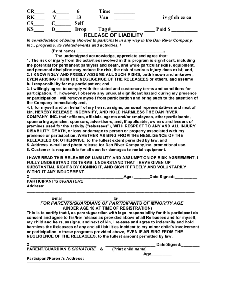 Release Form — Dan River Company