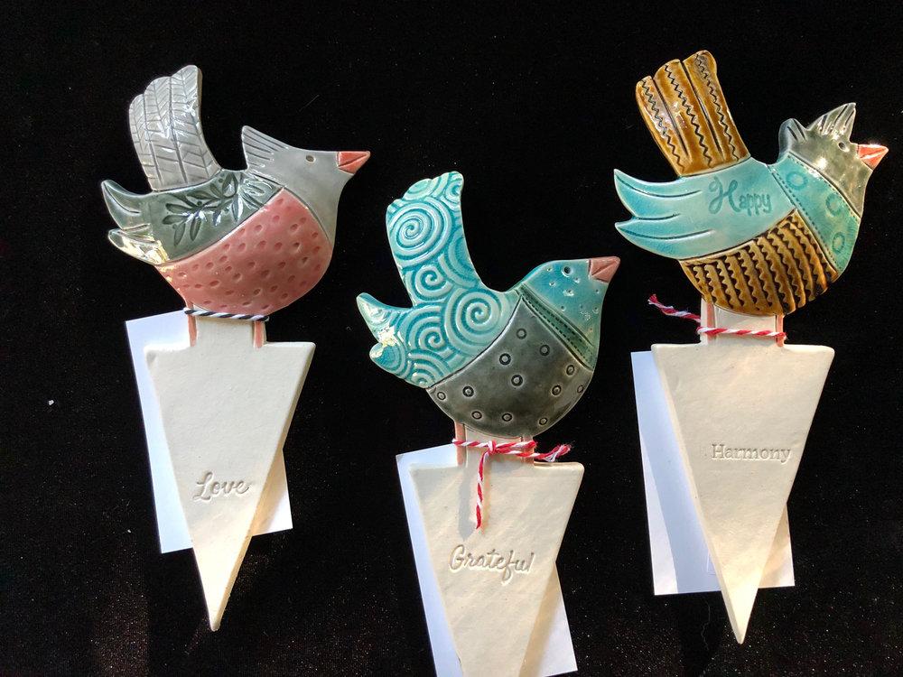 BIRDS WITH WORDS GARDEN ART
