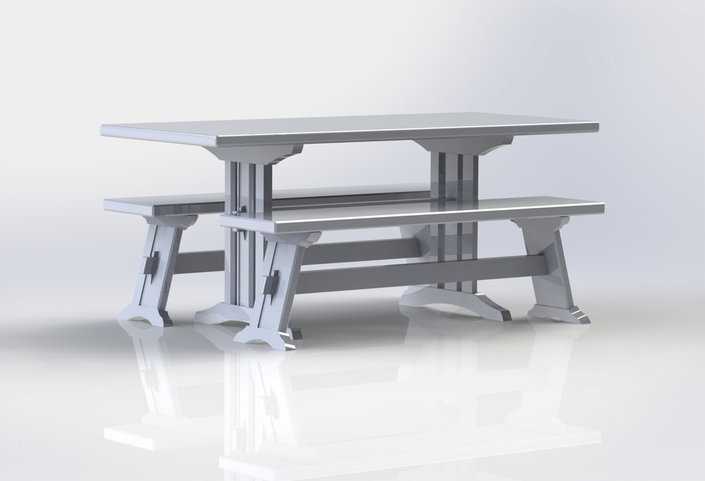Farm Table With Two Benches