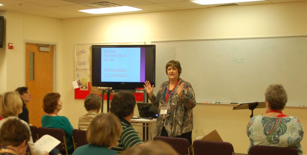 Terri Preskitt-Brown leading a class session in 2016