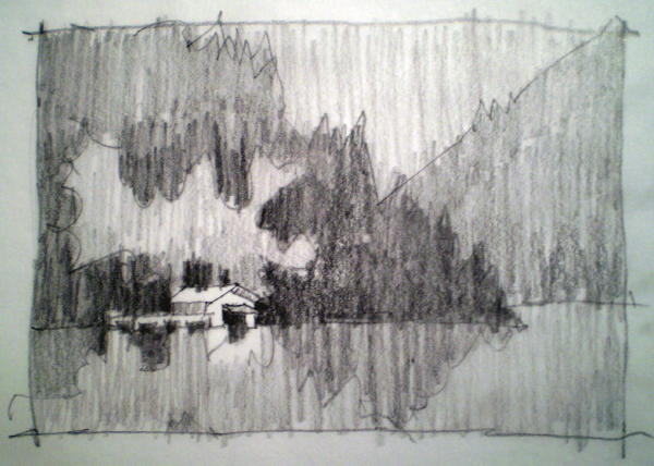 "Value study for ""Lake Hickory"""