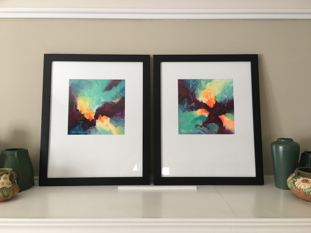 """Saltwater"" paintings shown in their frames."
