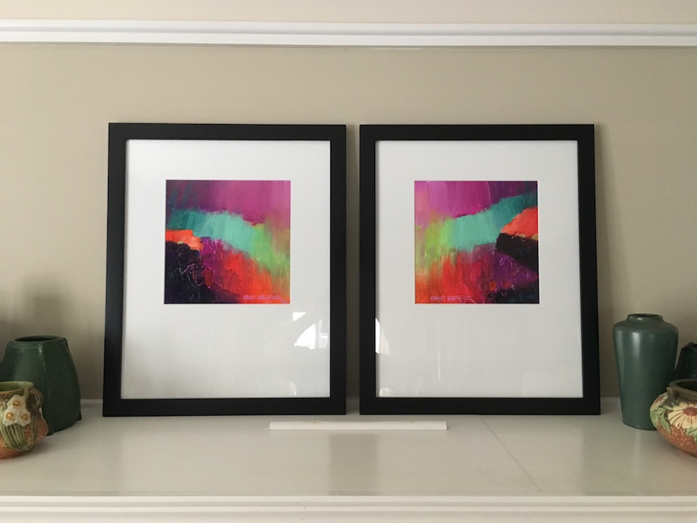 """Evening"" paintings shown in their frames."