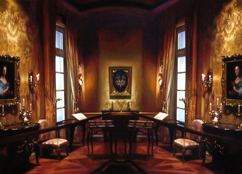 "Red Museum Interior    Oil on panel  34 1/2"" x 48""  2007"