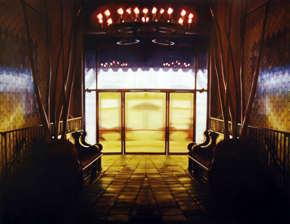 "Yellow Lobby    Oil on panel  42"" x 54 1/2""  2007"