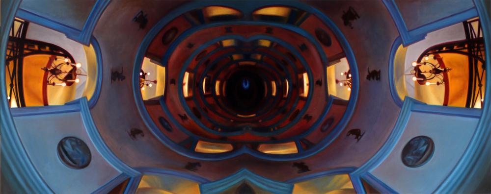 "Circular Corridor    Oil on panel  18"" x 45""  2013"