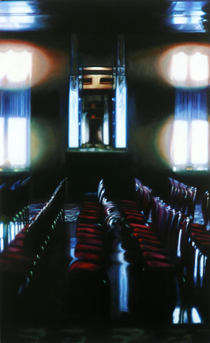 "Queen Mary Theater    Oil on panel  37 1/2"" x 23""  2010"