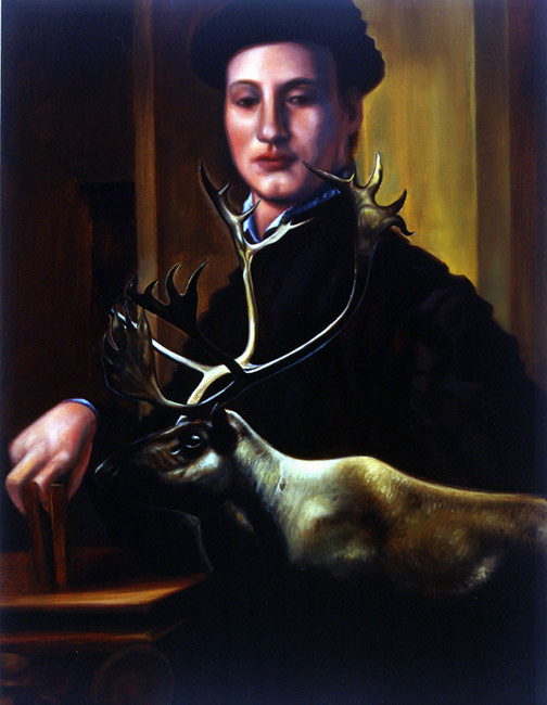 "Man With Elk    Oil on panel  14"" x 11""  1997"