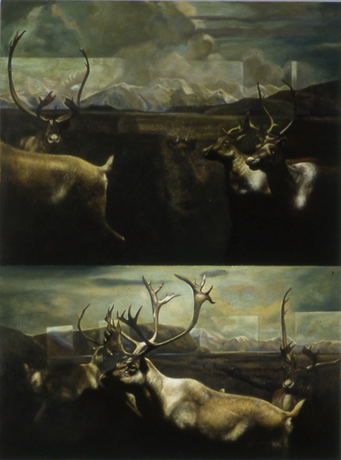 "Second Nature (Double Elk)    Oil on panel  18"" x 14""  1992"