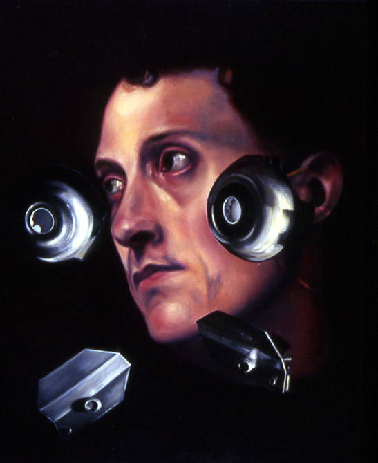 "Man With Flying Discs    Oil on panel  14"" x 11""  1994"
