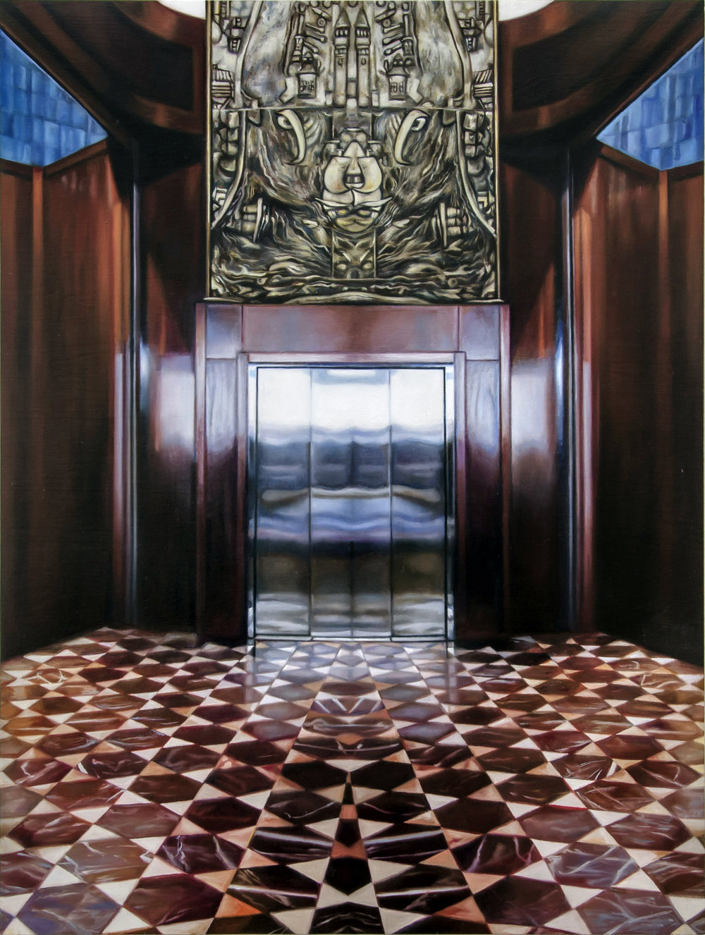 "Istanbul Elevator    Oil on hardwood panel  24"" x 18""  2016"