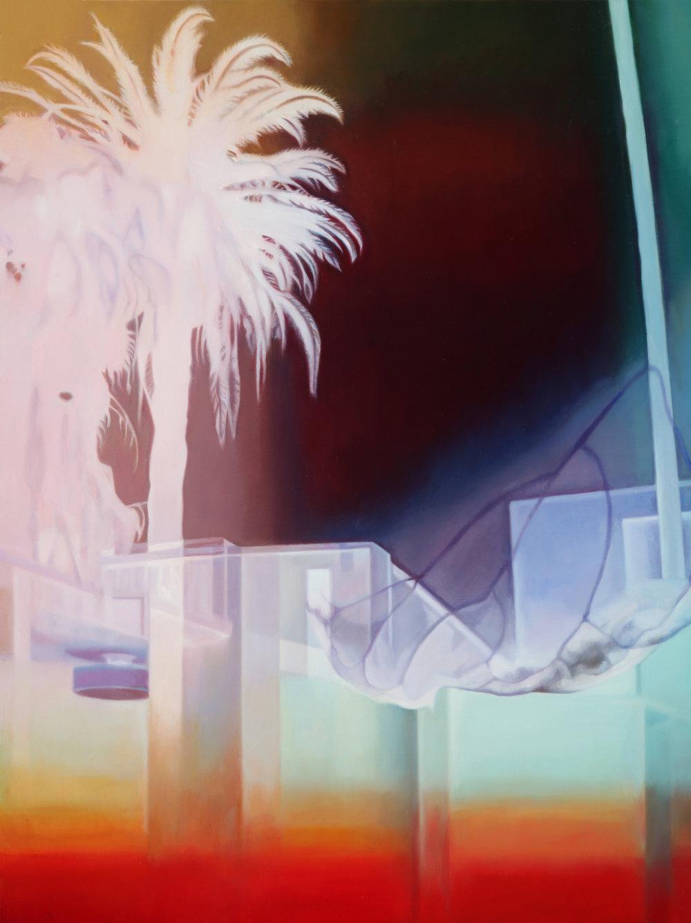 """Palm Tree LA Apartment Lobby    Oil on hardwood panel  24"""" x 18""""  2018"""