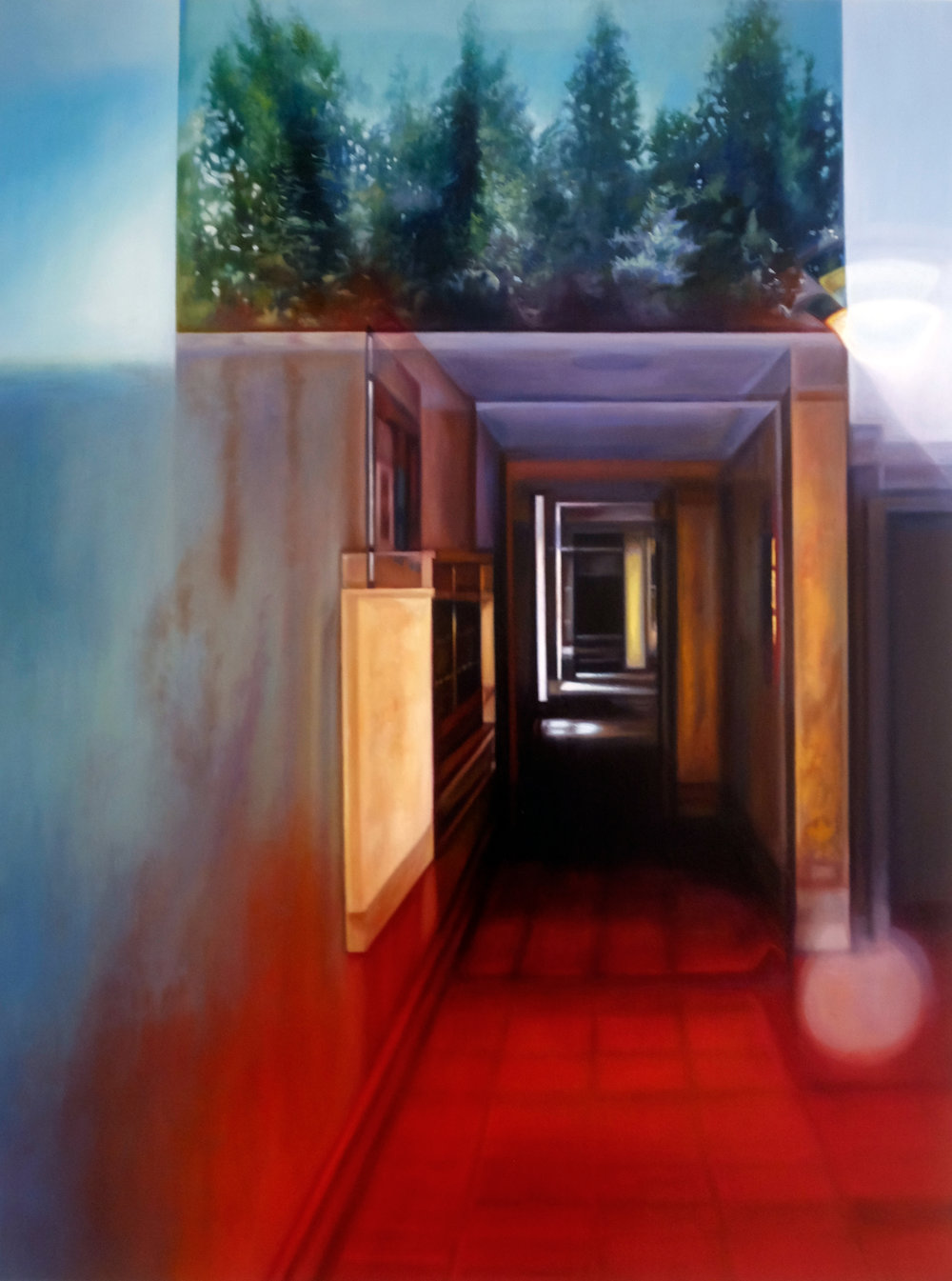 """Red Apartment Lobby with Trees    Oil on hardwood panel  24"""" x 18""""  2018"""
