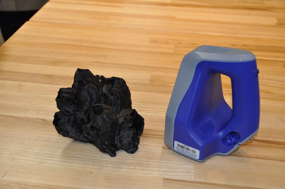 3D-printed part & handheld laser scanner