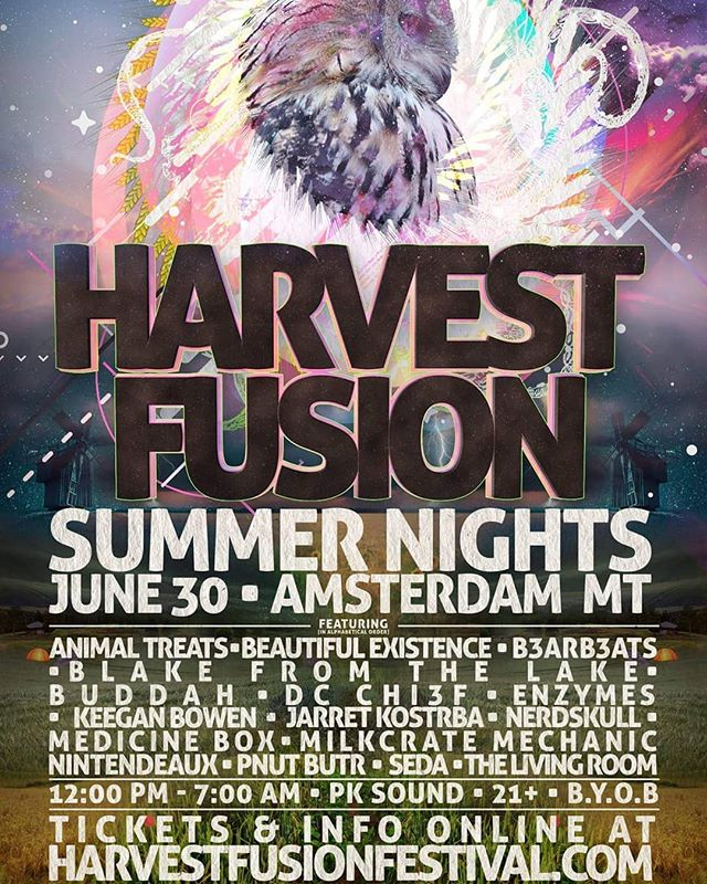 "Harvest Fusion 2018: ""Summer Nights"". June 30th // 12PM - 7AM // PK SOUND // 21+ // B.Y.O.B.  Facebook Event Page: https://www.facebook.com/events/1312908708808818/?ti=cl  Tickets: https://www.eventbrite.com/e/harvest-fusion-2018-summer-nights-21-tickets-46418465881 ""See you on the farm"""