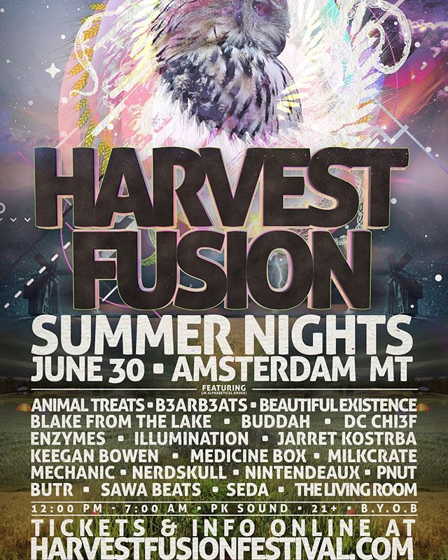 "Harvest Fusion 2018: ""Summer Nights"". June 30th // 12PM - 7AM // PK SOUND // 21+ // B.Y.O.B.  PK Sound by Electrophilic Professional Audio  Lights by Musik Lives Here  Food by Taco Montes  Facebook Event Page: https://www.facebook.com/events/1312908708808818/?ti=cl  Tickets: https://www.eventbrite.com/e/harvest-fusion-2018-summer-nights-21-tickets-46418465881"