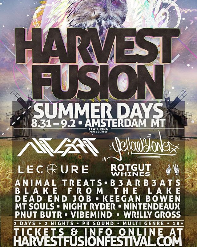 HARVEST FUSION: SUMMER DAYS (PHASE 1 LINEUP)  AUGUST 30 - SEPTEMEBER 2  PK SOUND / MULTI GENRE / 18+  TICKETS & INFO AT: HARVESTFUSIONFESTIVAL.COM