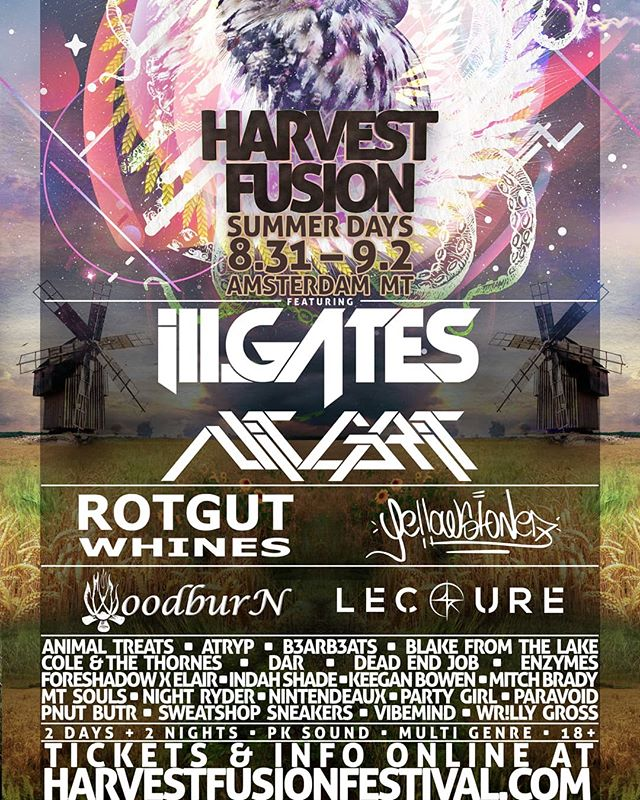 Harvest Fusion: Summer Days w/@illgatesmusic & @nitgritmusic August 31 - September 2!!! TICKETS & INFO AT:  HAVESTFUSIONFESTIVAL.COM